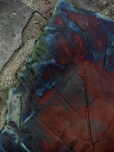 Detail Image for art Raku Sunflower Leaf