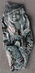 Art: Asian Wall sculpture CLAY by Artist Deborah Sprague