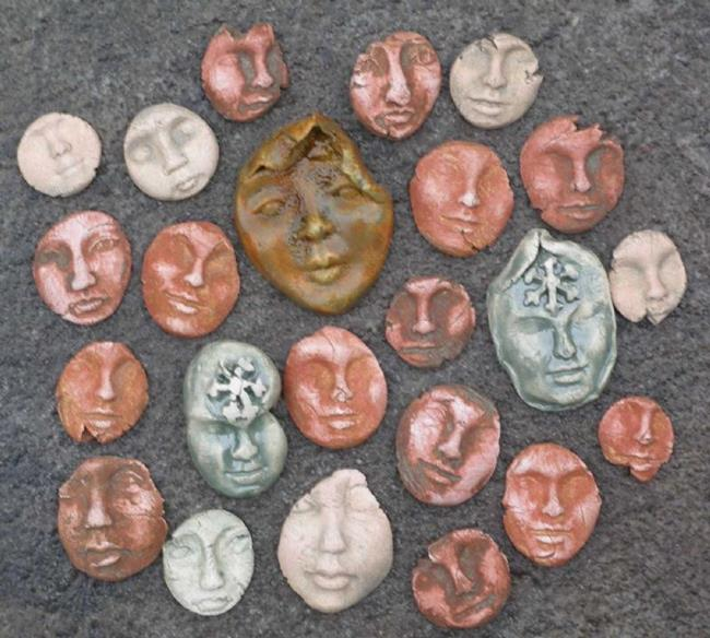 Art: face shard lot by Artist Deborah Sprague