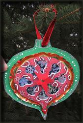 Art: Christmas ornament collage paper cutting by Artist Ann Murray