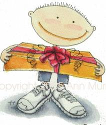 Art: Boy with Gift Box Greeting Card by Artist Ann Murray