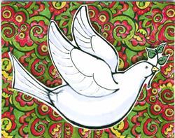 Art: Merry Christmas card - Peace Dove by Artist Ann Murray