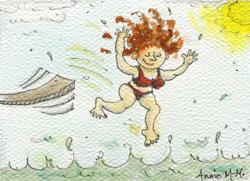 Art: EBSQ Beach MiDdLe AgE CrAzY ACEO Art Card  SOLD by Artist Ann Murray