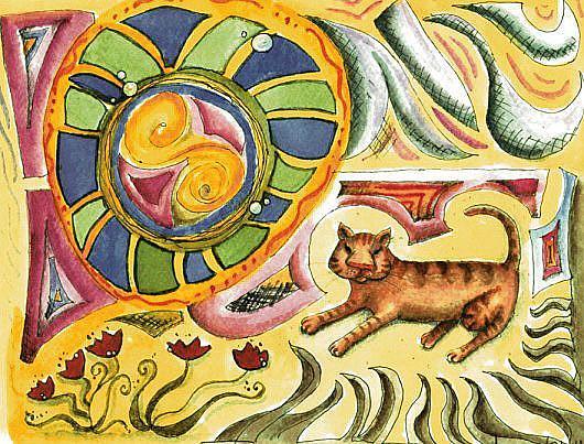 Art: Sunbather Kitty: Rip of Shelby's Sunbather by Artist Ann Murray