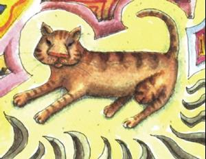 Detail Image for art Sunbather Kitty: Rip of Shelby's Sunbather
