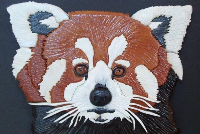 Art: Red Panda Original Painted Intarsia Art by Artist Gina Stern
