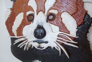 Detail Image for art Red Panda Original Painted Intarsia Art