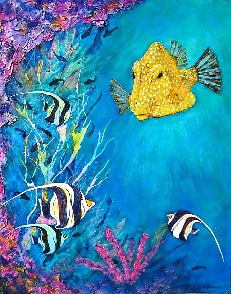 Art: Coral Reef Yellow Box Fish 24x30 (M) by Artist Ke Robinson