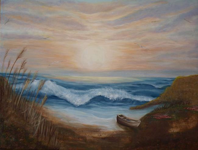 Art: Sunset Beach by Artist Karen Lynn Evans