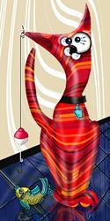 Art: Retro Red Cat by Artist Alma Lee