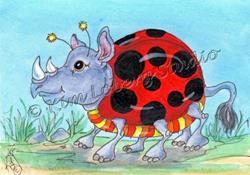 Art: Out For A Stroll - Lady Bug Rhino by Artist Kim Loberg