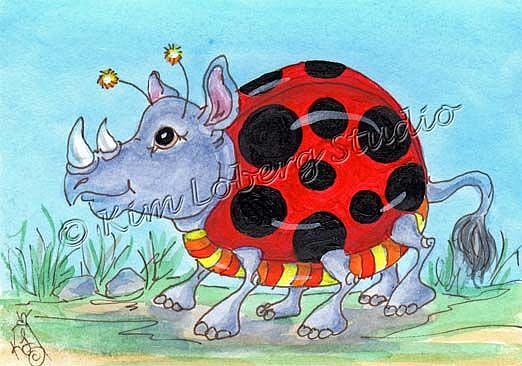 Art: Out For A Stroll - Lady Bug Rhino by Artist Kim Loberg