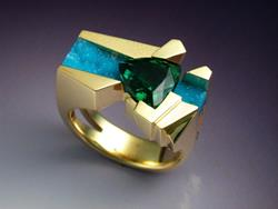 Art: Unique 18k gold ring with Tourmaline and Chrysocolla by Artist John Biagiotti