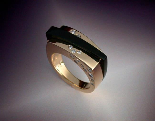 Art: Ring with Black Jade and Diamonds by Artist John Biagiotti