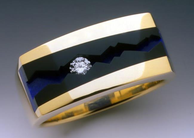 Art: Diamond, Black Jade and Lapis mans ring by Artist John Biagiotti