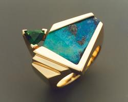 Art: Boulder Opal and Tourmaline ring by Artist John Biagiotti
