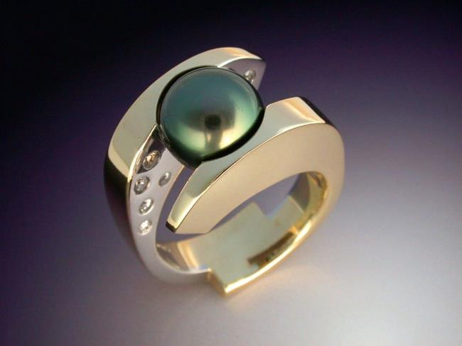 Art: Tahitian Pearl and Diamond ring by Artist John Biagiotti
