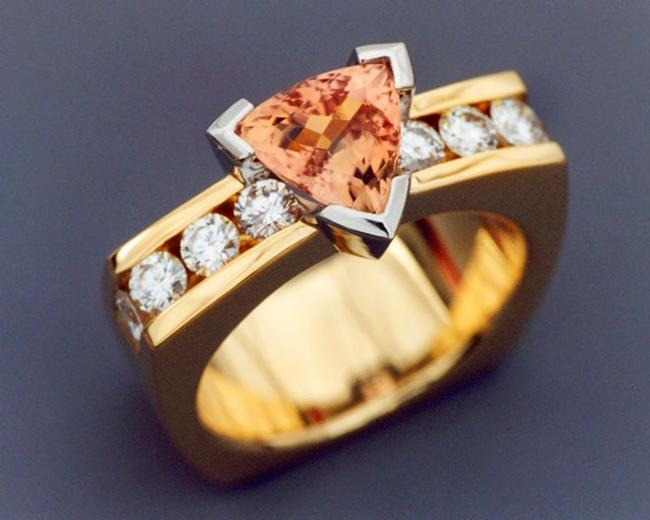 Art: Imperial Topaz and Diamond ring by Artist John Biagiotti