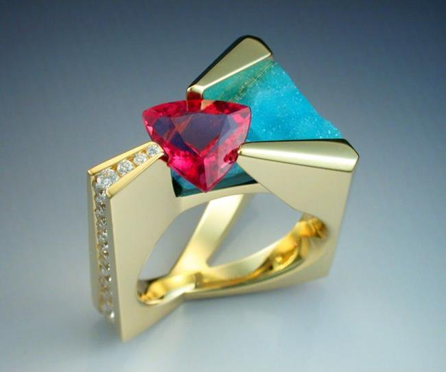 Art: 18k Pink Tourmaline, diamond and chrysocolla ring by Artist John Biagiotti