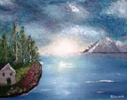 Art: Cabin on the Lake - sold by Artist Shari Lynn Dunn