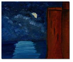 Art: To the Left of Carew Castle in the Moonlight over the Lake - sold by Artist Shari Lynn Dunn