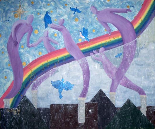 Art: OVER THE RAINBOW by Artist RUTH J JAMIESON