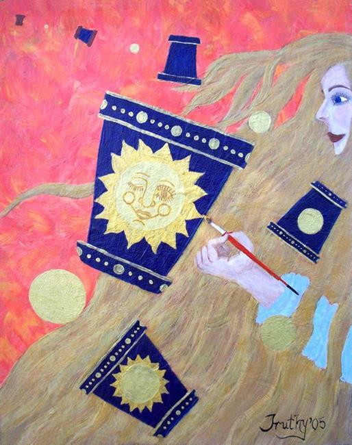 Art: ME & MY POTS by Artist RUTH J JAMIESON