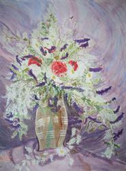 Art: RED & WHITE CARNATIONS FROM DAVID by Artist RUTH J JAMIESON
