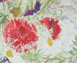 Detail Image for art RED & WHITE CARNATIONS FROM DAVID