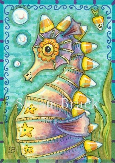 Art: CANDY CORN SEAHORSE by Artist Susan Brack