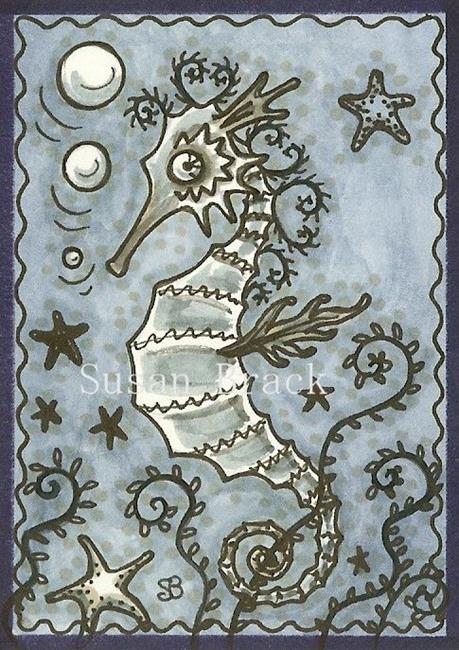 Art: GOTH SEAHORSE by Artist Susan Brack