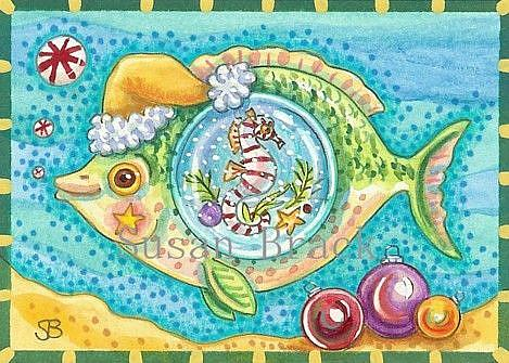 Art: CANDYCANE SEAHORSE AND PEPPERMINT BUBBLES by Artist Susan Brack