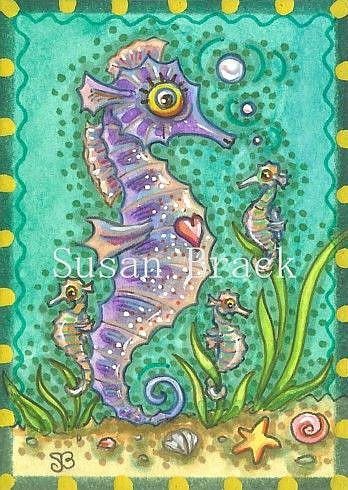Art: MOM AND ME SEAHORSE by Artist Susan Brack