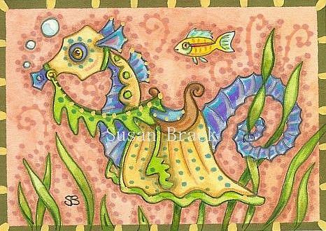 Art: MEDIEVAL SEAHORSE by Artist Susan Brack