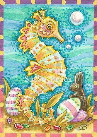 Art: SEAHORSE AND JELLY BEANS by Artist Susan Brack