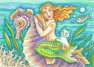 Art: GALLOPING SEAHORSE And MERMAID Catfish by Artist Susan Brack