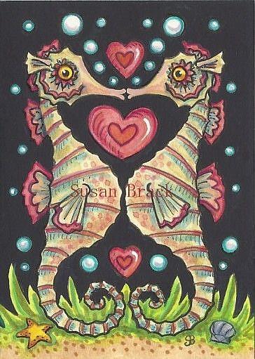 Art: SEAHORSE VALENTINE by Artist Susan Brack