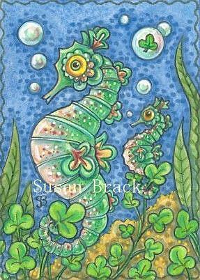 Art: SHAMROCKS N' SEAHORSES by Artist Susan Brack
