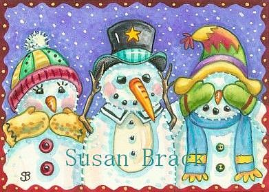 Art: SNOWMEN SEE NO EVIL #2 by Artist Susan Brack