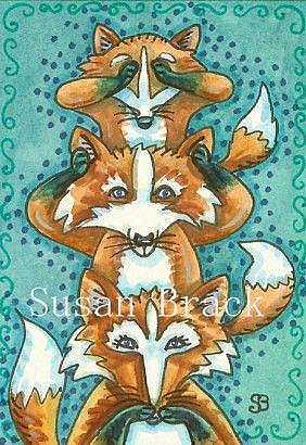 Art: LITTLE FOXES SEE NO EVIL by Artist Susan Brack