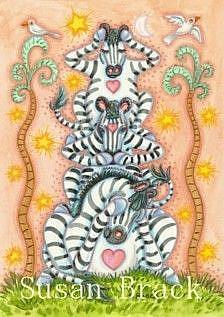 Art: ZEBRAS SEE NO EVIL by Artist Susan Brack