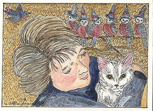 Art: Portrait with White Kitty! by Artist Theodora Demetriades