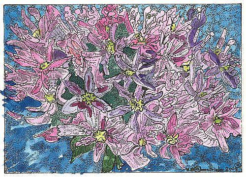Art: ALLIUM FROM OUR GARDEN by Artist Theodora Demetriades