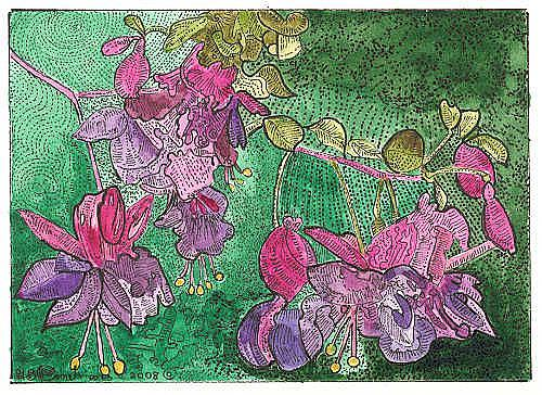Art: FUCHSIA BRANCH by Artist Theodora Demetriades