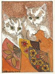 Art: HOT CATS OLD FASHIONED FANS by Artist Theodora Demetriades