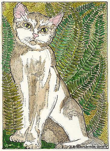 Art: Little Kitty in the Fern Garden by Artist Theodora Demetriades