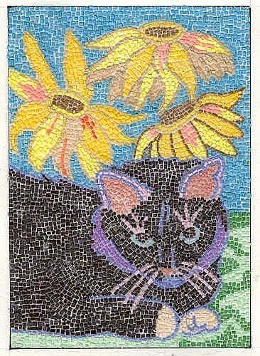 Art: MICRO MOSAIC KITTY AND CONE FLOWERS by Artist Theodora Demetriades