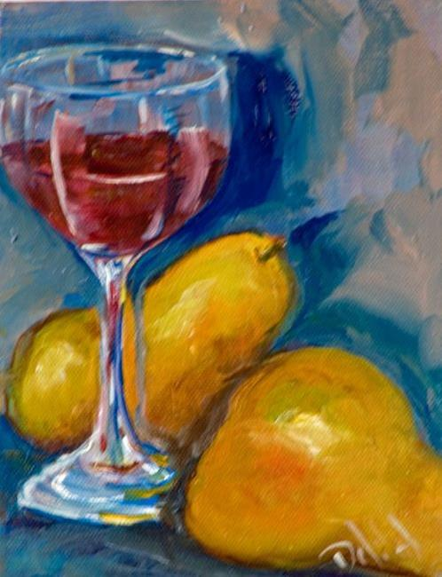 Art: Wine and Pears-sold by Artist Delilah Smith