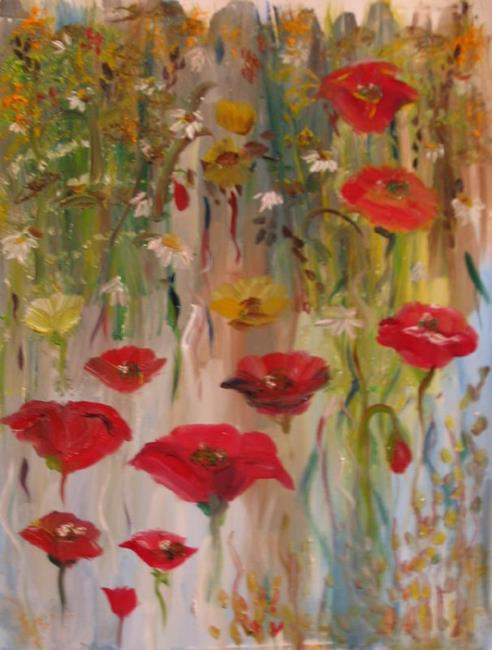 Art: Red Poppies-SOLD by Artist Delilah Smith