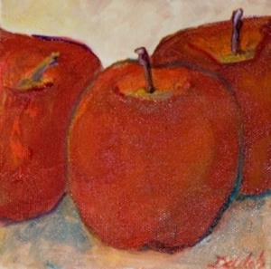 Detail Image for art Three Red Apples-sold